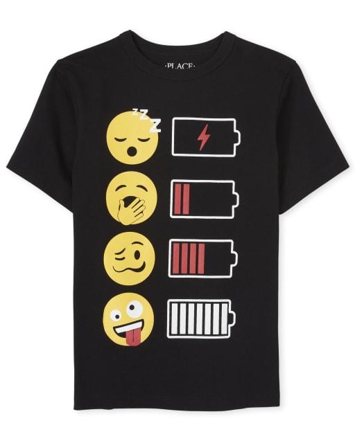 Boys Short Sleeve Emoji Battery Graphic Tee