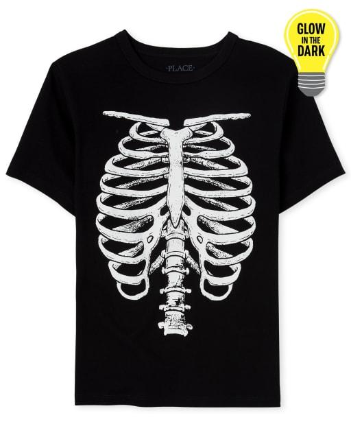 Camiseta de manga corta con estampado de esqueleto que brilla en la oscuridad de Halloween para niños