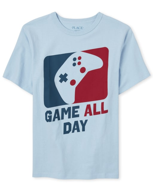 Boys Short Sleeve 'Game All Day' Video Game Graphic Tee