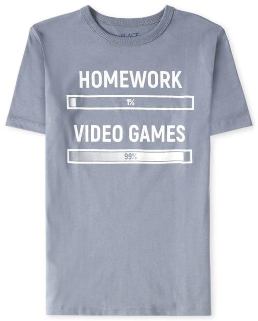 Camiseta gráfica de videojuegos de tarea para niños