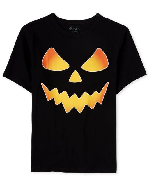 Camiseta estampada de calabaza Halloween Glow para niños