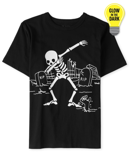 Boys Halloween Short Sleeve Glow In The Dark Dancing Skeleton Graphic Tee