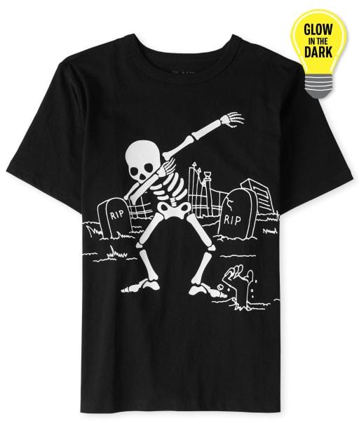 Camiseta estampada esqueleto Halloween Glow Dancing para niños