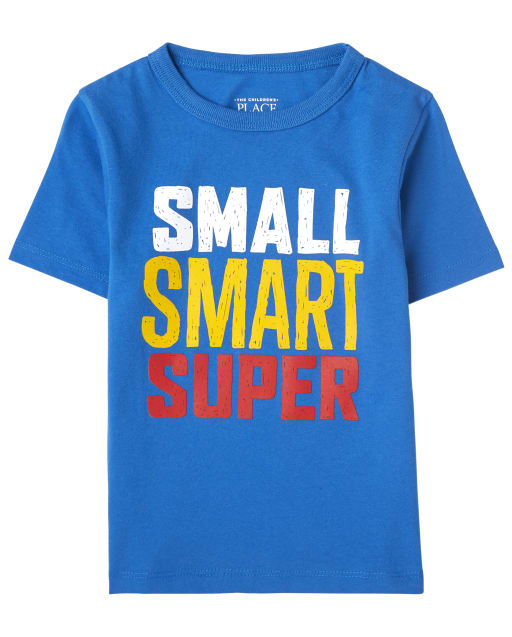 Baby And Toddler Boys Short Sleeve 'Small Smart Super' Graphic Tee