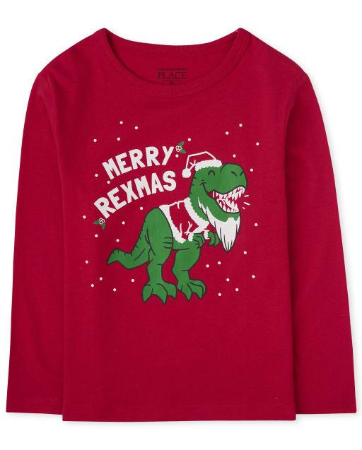 Baby And Toddler Boys Christmas Long Sleeve 'Merry Rexmas' Dino Graphic Tee