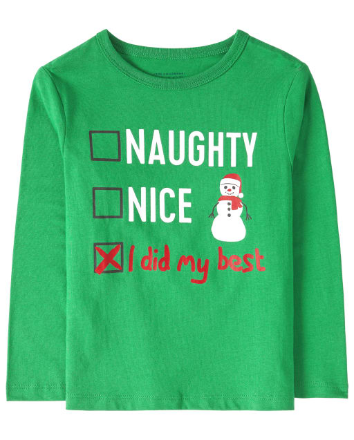 Baby And Toddler Boys Christmas Long Sleeve 'Naughty Nice I Did My Best' List Graphic Tee
