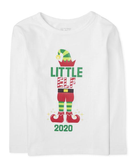 Camiseta estampada de duende navideño familiar para bebés y niños pequeños