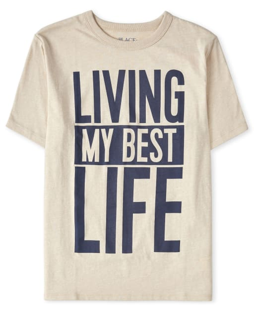 Boys Short Sleeve 'Living My Best Life' Graphic Tee
