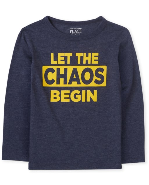 Baby And Toddler Boys Long Sleeve 'Let The Chaos Begin' Graphic Tee