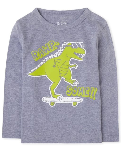 Baby And Toddler Boys Long Sleeve 'Rawrsome' Dino Graphic Tee
