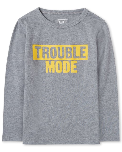 Baby And Toddler Boys Long Sleeve 'Trouble Mode' Graphic Tee