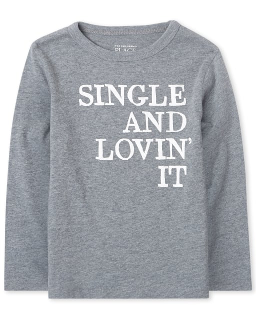Baby And Toddler Boys Long Sleeve 'Single And Lovin' It' Graphic Tee