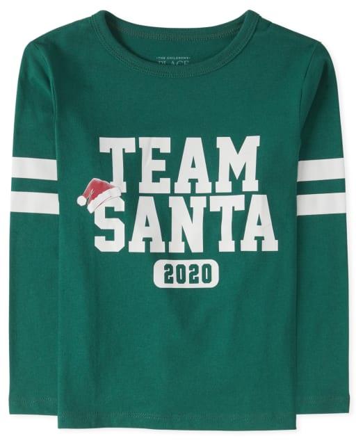 Camiseta unisex para bebés y niños pequeños Equipo familiar de Navidad Santa Graphic