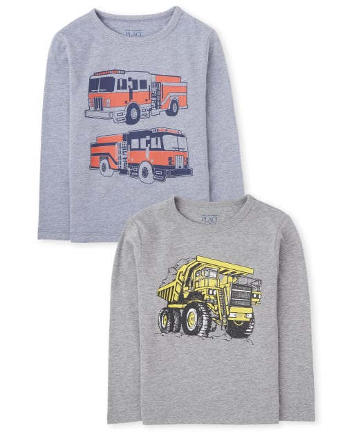 Baby And Toddler Boys Long Sleeve Vehicles Graphic Tee 2-Pack