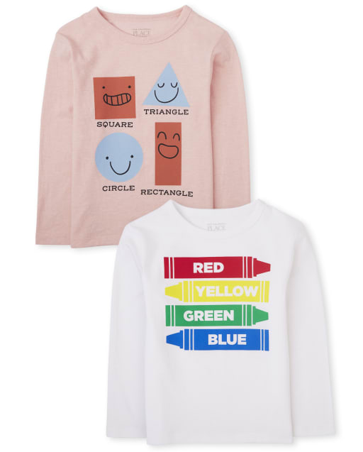 Baby And Toddler Boys Long Sleeve Shapes And Colors Graphic Tee 2-Pack