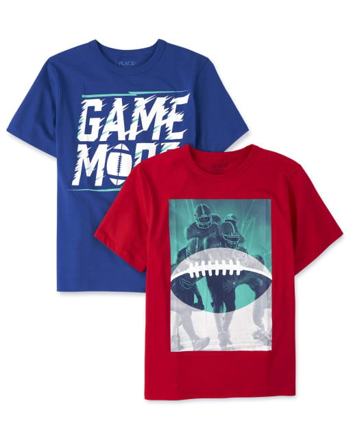 Boys Short Sleeve Sports Graphic Tee 2-Pack