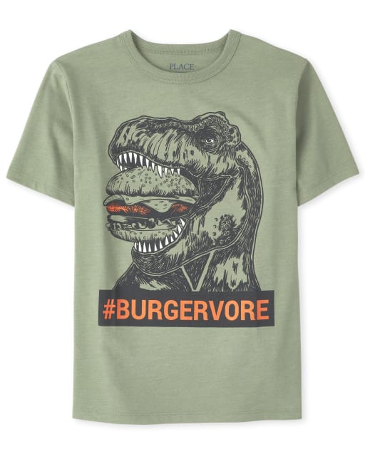 Boys Short Sleeve 'Hashtag Burgervore' Dino Graphic Tee