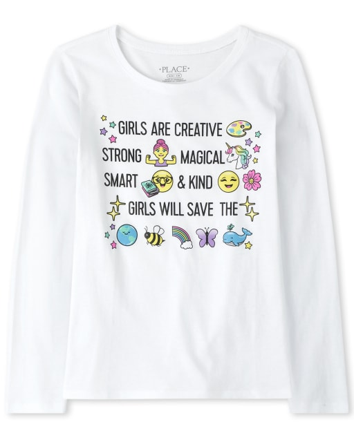 Girls Long Sleeve Glitter 'Creative' Graphic Tee