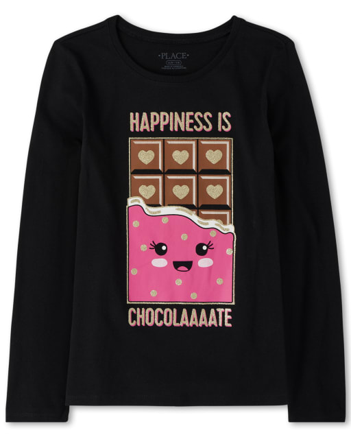 Girls Long Sleeve Glitter 'Happiness Is Chocolate' Graphic Tee