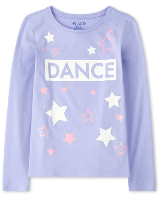 Girls Long Sleeve Glitter 'Dance' Graphic Tee