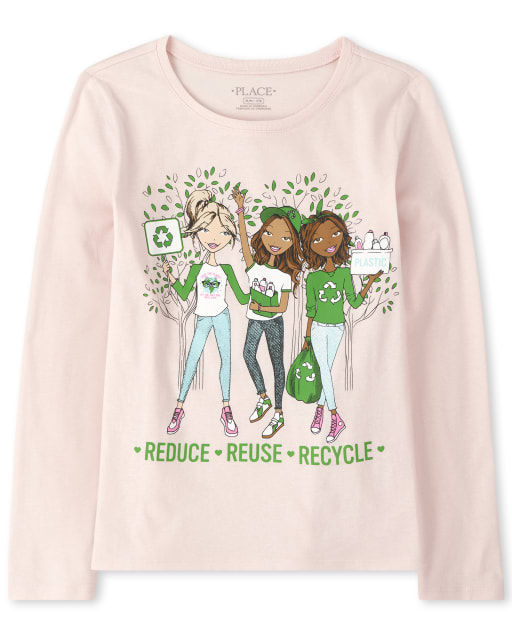 Girls Long Sleeve Glitter 'Reduce Reuse Recycle' Graphic Tee