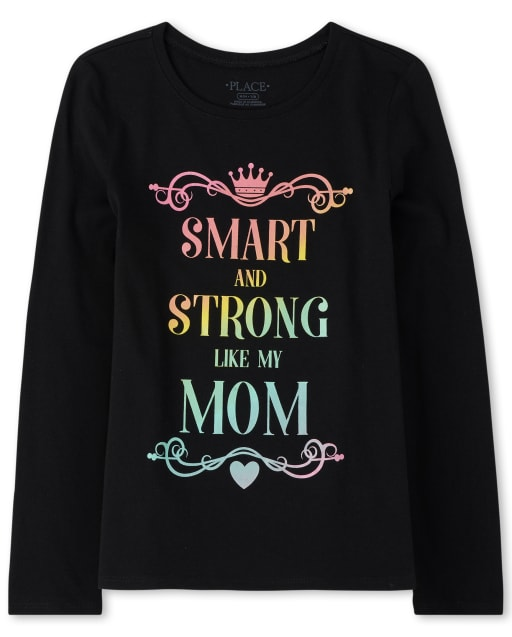 Girls Long Sleeve Glitter 'Smart And Strong Like My Mom' Graphic Tee