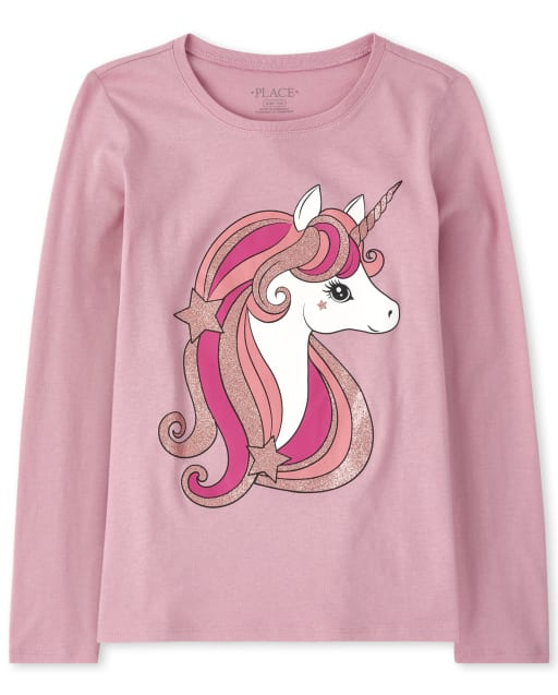 Girls Long Sleeve Glitter Unicorn Graphic Tee