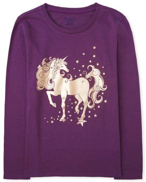 Girls Long Sleeve Foil Unicorn Graphic Tee