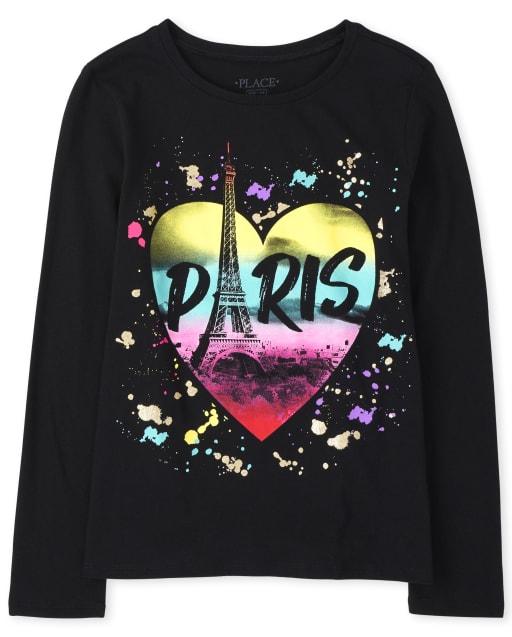 Girls Long Sleeve 'Paris' Rainbow Heart Graphic Tee