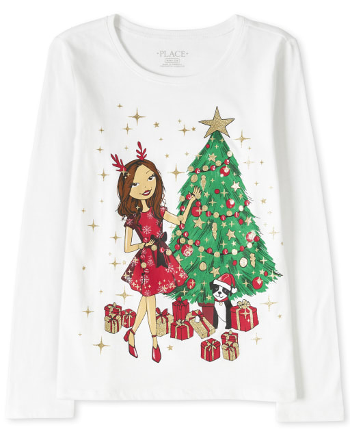 Girls Christmas Long Sleeve Glitter Girl Graphic Tee