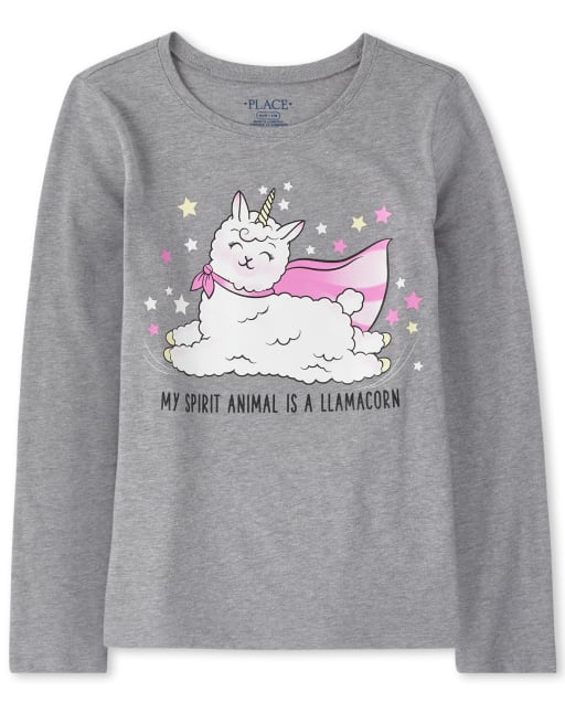 Girls Long Sleeve Glitter Caticorn Graphic Tee