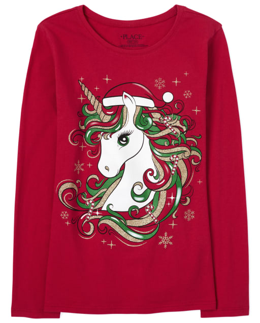 Girls Christmas Long Sleeve Glitter Unicorn Graphic Tee