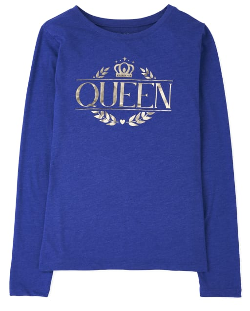 Womens Matching Family Long Sleeve Foil 'Queen' Royal Graphic Tee