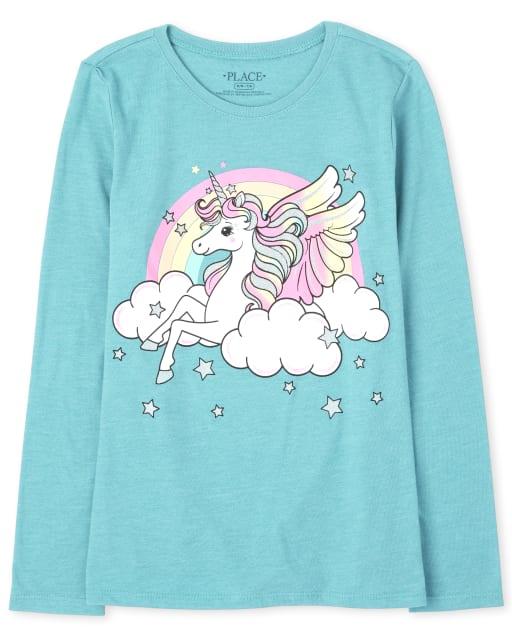 Girls Long Sleeve Rainbow Pegasus Graphic Tee