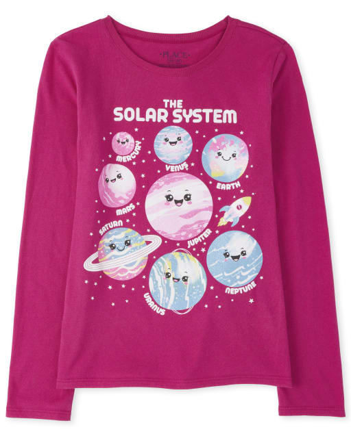 Girls Long Sleeve Glitter 'The Solar System' Planets Graphic Tee