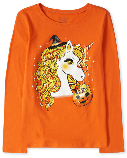 Girls Halloween Long Sleeve Unicorn Graphic Tee
