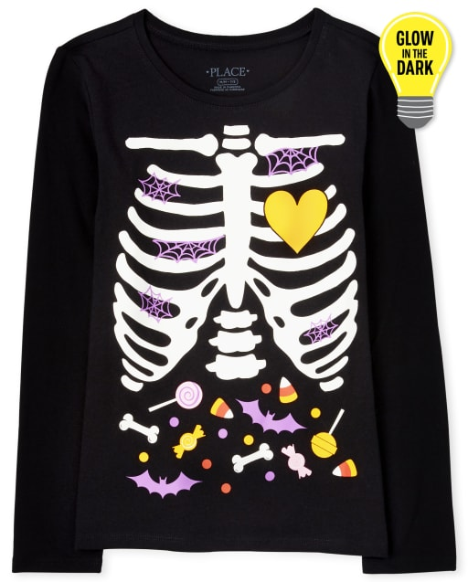 Girls Mommy And Me Halloween Long Sleeve Glow In The Dark Candy Skeleton Matching Graphic Tee