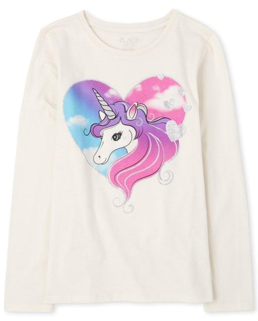 Girls Long Sleeve Glitter Unicorn Heart Graphic Tee