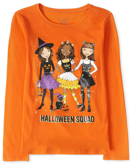 Girls Halloween Long Sleeve Squad Graphic Tee