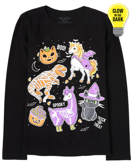 Girls Halloween Long Sleeve Glow In The Dark Emojis Graphic Tee