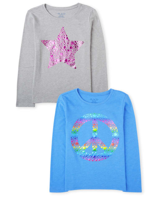 Girls Long Sleeve Rainbow Peace Sign And Star Graphic Tee 2-Pack