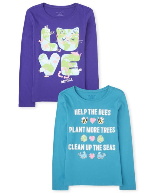 Girls Long Sleeve Earth Graphic Tee 2-Pack