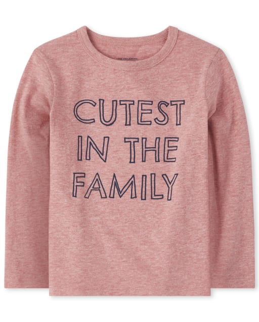 Baby And Toddler Boys Long Sleeve 'Cutest In The Family' Graphic Tee