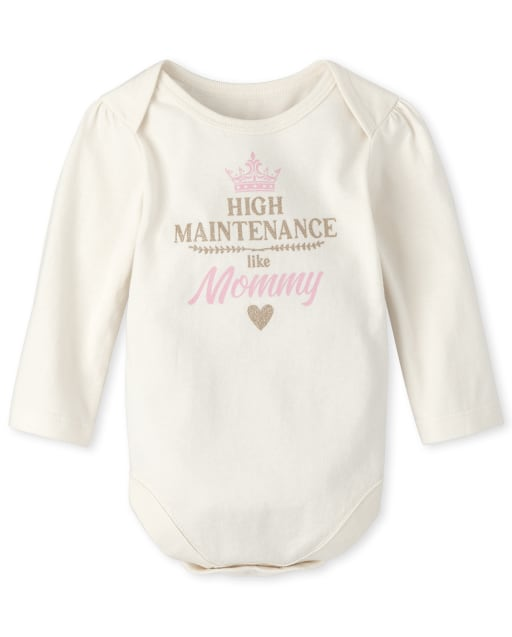Baby Girls Long Sleeve 'High Maintenance Like Mommy' Graphic Bodysuit