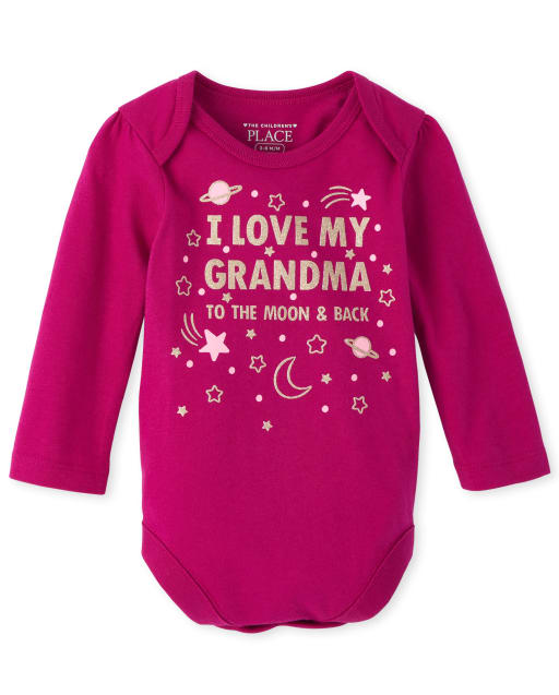 Baby Girls Long Sleeve 'I Love My Grandma' Graphic Bodysuit