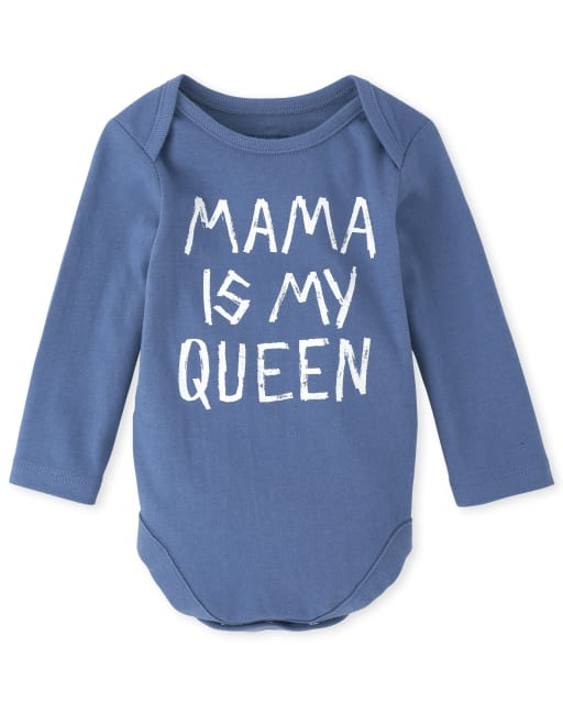 Baby Boys Long Sleeve 'Mama Is My Queen' Graphic Bodysuit