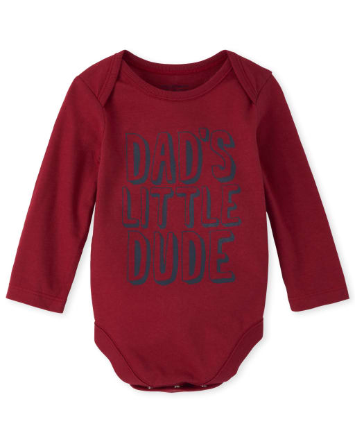 Baby Boys Long Sleeve 'Dad's Little Dude' Graphic Bodysuit