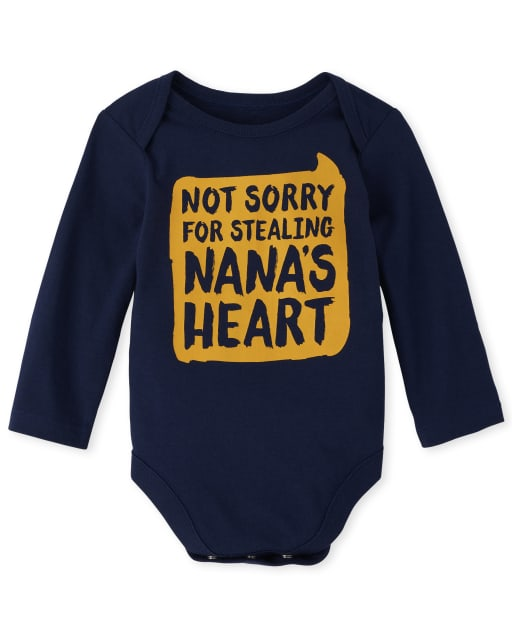 Baby Boys Long Sleeve 'Not Sorry For Stealing Nana's Heart' Graphic Bodysuit