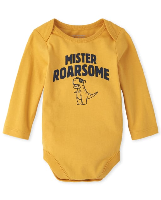 Baby Boys Long Sleeve 'Mister Roarsome' Dino Graphic Bodysuit