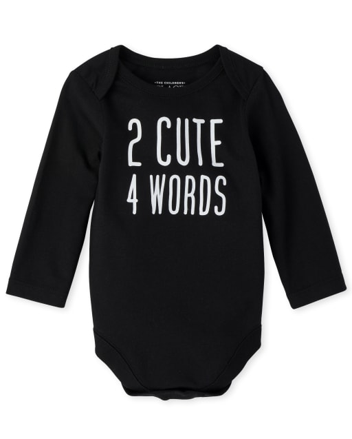Unisex Baby Long Sleeve '2 Cute 4 Words' Graphic Bodysuit